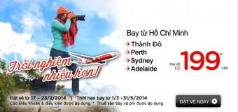 Vé máy bay Sài Gòn đi Úc Air Asia chỉ từ 199 USD
