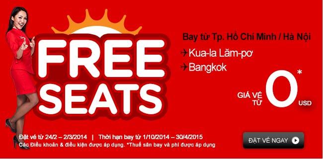 khuyến mãi vé 0 đồng đi Bangkok và Kuala Lumpur