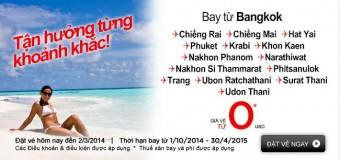 khuyến mãi vé 0 đồng đi từ Bangkok và Kuala Lumpur