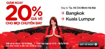 Khuyến mãi giảm giá 20% cho chuyến bay đi Bangkok và Kuala Lumpur