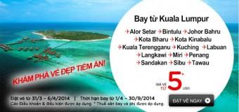 Chỉ 5 USD giá rẻ cùng Air Asia du lịch Malaysia