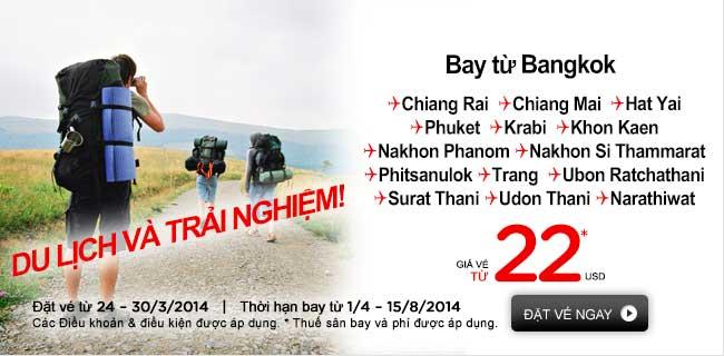 Với 22 USD cùng Air Asia bay nội địa Thái Lan