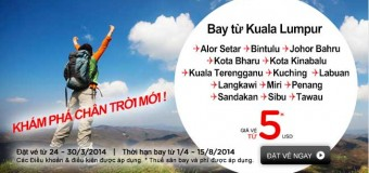 Với 5 USD cùng Air Asia bay nội địa Malaysia
