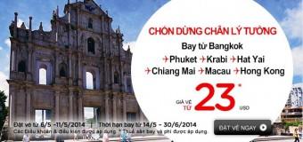 Chỉ 23 USD bay nội địa Thái Lan giá rẻ cùng Air Asia