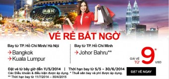 Vé rẻ bất ngờ đi Bangkok và Kuala Lumpur 40 USD
