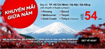 Khuyến mãi giữa năm vé Air Asia chỉ từ 54 USD