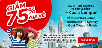 Giảm 75% giá vé máy bay đi Úc của Air Asia