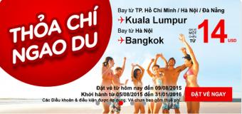 Ưu đãi vé máy bay đi Bangkok, Kuala Lumpur chỉ từ 14 USD