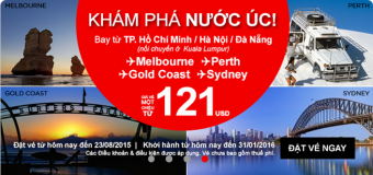 Khuyến mại chỉ từ 121 USD du lịch Úc