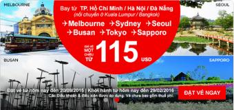 Chỉ từ 115 USD du lịch Úc, Nhật, Hàn cuối năm