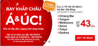 Bay khắp châu Á – Úc cùng Air Asia chỉ từ 43 USD