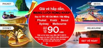 Air Asia khuyến mại giá vé hấp dẫn chỉ từ 90 USD