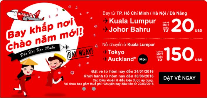 Du lịch khắp nơi cùng Air Asia chỉ từ 20 USD