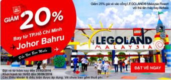 Siêu giảm 20% vé máy bay đi Johor Bahru
