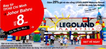 Cơ hội cuối đến Johor Bahru với vé máy bay 8 USD