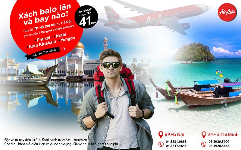 Du lịch châu Á tiết kiệm với Air Asia chỉ từ 41 USD