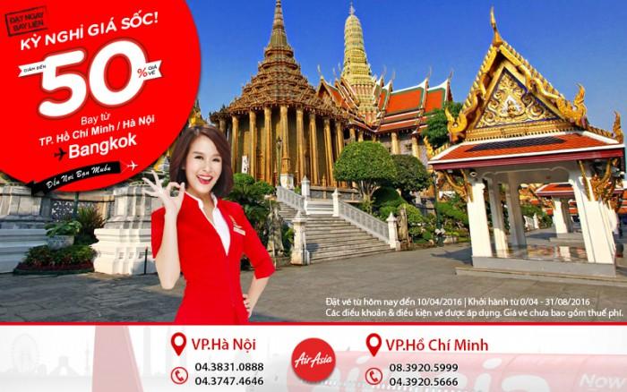 Giá sốc Air Asia bay ngay Bangkok giảm 50% cực ưu đãi