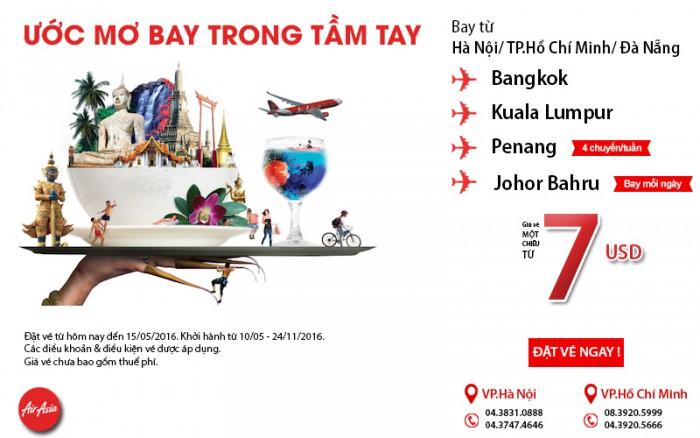 Chỉ từ 7 USD vé Air Asia du lịch ngay trong tầm tay của bạn