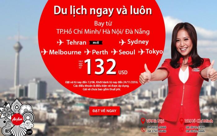 Chu du thế giới với vé Air Asia siêu rẻ chỉ từ 132 USD