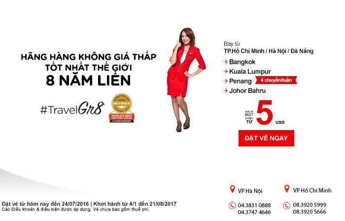 Tưng bừng khuyến mại vé Air Asia chỉ từ 5 USD đi Thái Lan, Malaysia