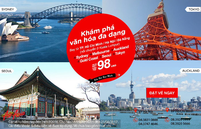 Khám phá văn hóa thế giới với vé Air Asia chỉ từ 98 USD