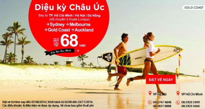 Chỉ từ 68 USD vé Air Asia giá rẻ khám phá châu Úc diệu kỳ