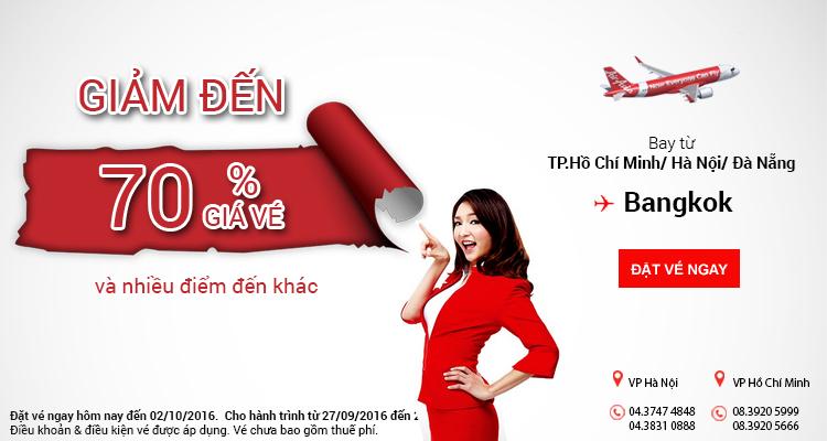 Air Asia khuyến mại cực ưu đãi giảm 70% vé đi Bangkok