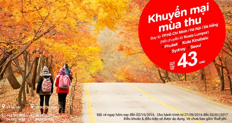 Chỉ từ 43 USD vé Air Asia cực rẻ chu du mùa thu bốn phương