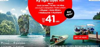 Chỉ từ 41 USD vé Air Asia du lịch đầu năm khắp thế giới