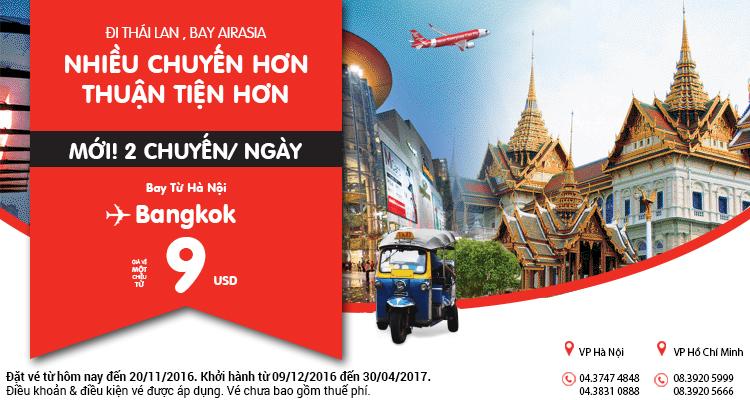 Vé máy bay Hà Nội đi Bangkok cực rẻ chỉ từ 9 USD