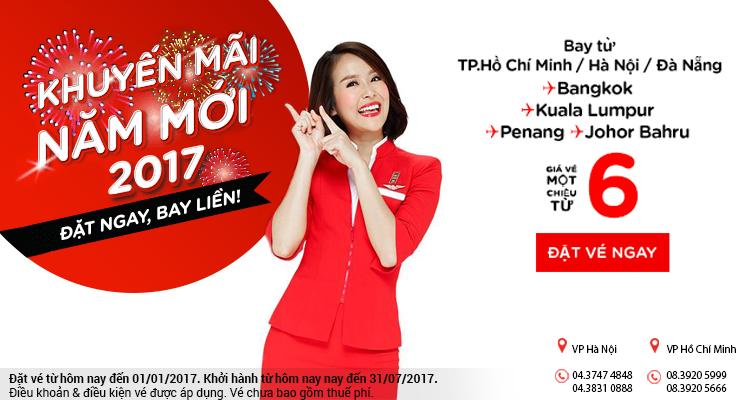 Khuyến mãi mừng năm mới 2017, vé Air Asia chỉ từ 6 USD