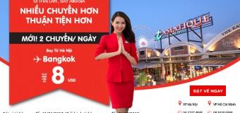Vé Air Asia bay thẳng Hà Nội – Bangkok ưu đãi chỉ từ 8 USD