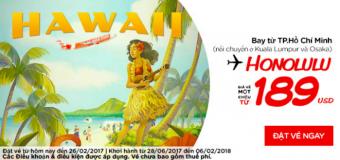 Siêu rẻ vé TP HCM đi Honolulu giá chỉ từ 189 USD