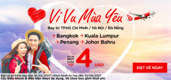 Cùng Air Asia vi vu mùa Valentine với vé rẻ chỉ từ 4 USD