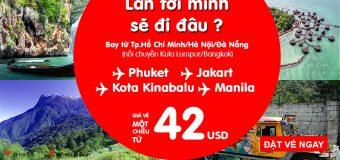 Cùng vé Air Asia chỉ từ 42 USD chu du khắp châu Á