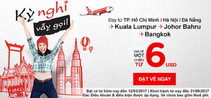 Kỳ nghỉ vẫy gọi rồi, đặt vé Air Asia chỉ từ 6 USD thôi!