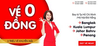 Khuyến mãi khủng mở bán 3 triệu vé Air Asia chỉ từ 0 đồng