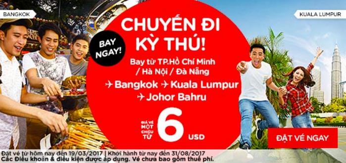 Bay ngay châu Á với vé Air Asia siêu tiết kiệm chỉ từ 6 USD