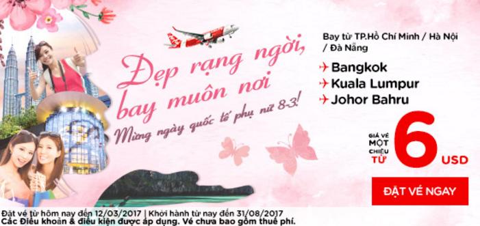 Ưu đãi lớn vé Air Asia mừng ngày 08/03 giá chỉ từ 6 USD