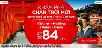 Cùng Air Asia khám phá điểm đến mới với vé 84 USD cực rẻ