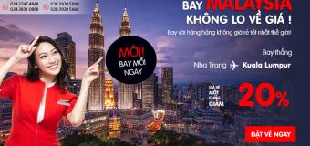 Siêu KM từ Air Aia – Bay thẳng Kuala Lumpur với giá vé 1 chiều giảm đến 20%