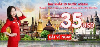 Chỉ từ 35 USD – Bay khắp 10 nước ASEAN và nhiều hơn nữa không tốn kém cùng Air Asia