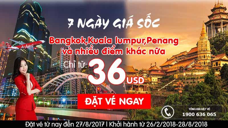 7 ngày giá sốc, chỉ từ 36 USD – Cùng Air Asia quẩy khắp mọi nơi!