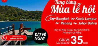 Cùng Air Asia tưng bừng đón lễ hội – Bay đi muôn nơi với vé chỉ từ 35 USD/chiều
