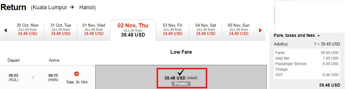 Hành trình Kuala Lumpur - Hà Nội vé từ 39 USD ưu đãi