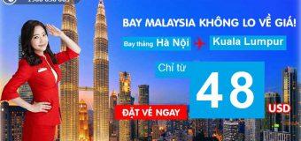 Bay thẳng Hà Nội – Kuala Lumpur vé rẻ như mơ chỉ từ 48 USD cùng Air Asia
