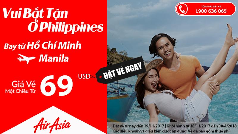 Air Asia siêu khuyến mãi vé đi Manila, giá chỉ từ 69 USD – Thỏa sức khám phá Philippines