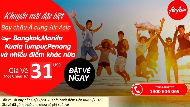 Quẩy tung châu Á cùng ưu đãi vé siêu rẻ, chỉ từ 31 USD của Air Asia