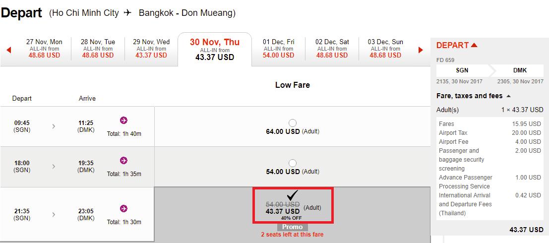 Hành trình HCM - Bangkok giá rẻ.