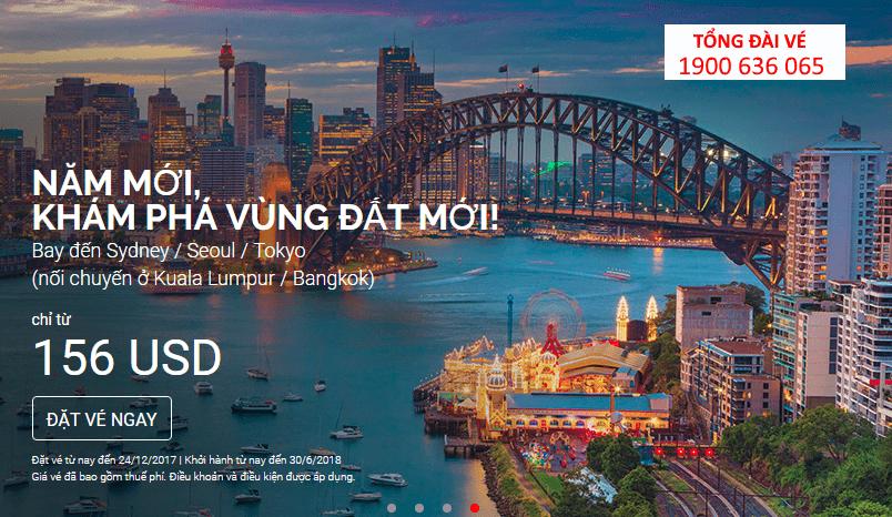 Chỉ từ 156 USD du hí châu Úc – Đông Bắc Á năm 2018 cùng Air Asia